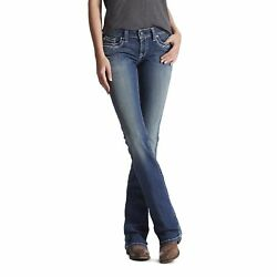 Ariat Womenand039s Real Entwined Marine Mid-rise Boot Cut Riding Jeans 10017510