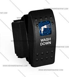 Labeled Marine Contura Ii Rocker Switch Carling Lighted - Washdown-blue Lens