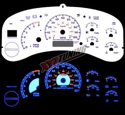BLUE Reverse El Indiglo Glow White Gauge Face For 00-02 Avalanche/Suburban/Tahoe
