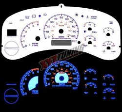 BLUE Reverse El Indiglo Glow White Gauge Face For 00-02 Yukon XL 1500 / 2500