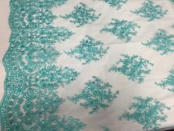 Aqua Royal Flowers Embroider With Sequins And Corded On A Mesh Lace -yd