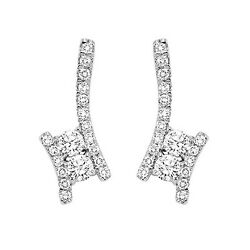 14k Twogether Diamond Earrings White Gold - 3 Diamond Weights To Choose From