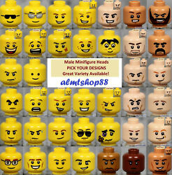 LEGO MALE Minifigure Heads PICK YOUR STYLE Yellow Flesh Faces People Town
