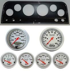 65-66 Chevy Truck Carbon Dash Carrier W/ Auto Meter Ultra Lite Electric Gauges