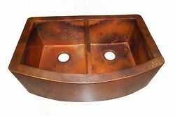 Rounded Apron Front Farmhouse Kitchen Double Bowl Mexican Copper Sink 50/50 06