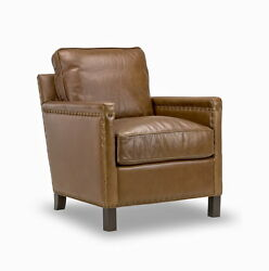 Set Of Two 30 W Arm Chair Medium Brown Top Grain Premium Soft Leather Luxurious