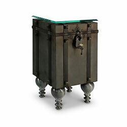 60 1/2 Long Side Table Steel Cube Table Clad Metal Strapping Old World Valise