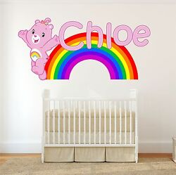 Care Bear Personalised Wall Sticker Childrens Bedroom Decal Art Rainbow 3 Sizes