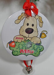 6 CUSTOM PERSONALIZED CHRISTMAS  ORNAMENTS PUPPY DOG YOUR NAME YEAR