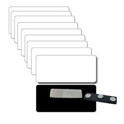 10 Blank 1 1/2 X 3 White/black Name Badges Tags 1/8 Corners And Magnetic Fastener