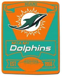 Miami Dolphins Marque Officially Licensed Nfl Fleece Blanket 50x60 Throw Gift