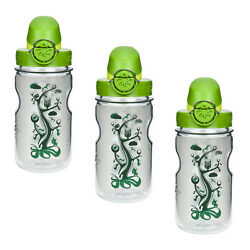 Nalgene On The Fly Kids 12oz Water Bottle Clear Woodland With Green Cap - 3 Pack