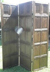 Wood Carved Primitive 6 1/2' Tri-fold Three Panel Privacy Screen Divider 0011010