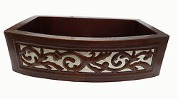 Apron Front Farmhouse Kitchen Mexican Copper Sink Leaf Guide Single Well  13