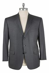Brioni Wool 48us/58eu Three Button Suit Med. Gray - Silver Pin Stripe