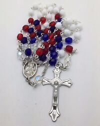 Red/white/blue - Usa American Flag Colors - Traditional Catholic Rosary Beads