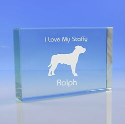 Staffordshire Bull Terrier Gift Personalised Engraved Glass Paperweight Ornament
