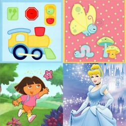 nEw CHILDRENS WALL ACCENT STICKERS Kids Characters Self Stick Wall Art Set