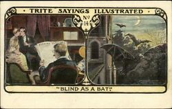Trite Sayings Blind As A Bat Young Folks Sneak A Kiss Father Reads Newspaper