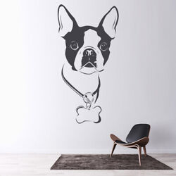 Boston Terrier Collar Dog Wall Sticker Pet Animals Wall Decal Canine Home Decor