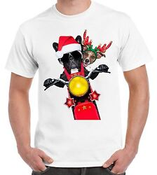French Bulldog amp; Jack Russell Terrier Santa Claus Father Christmas Men#x27;s T Shirt