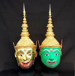 Set 2 Rama Lakshmana Mask Khon Thai Handmade Ramayana Home Decor Collectible