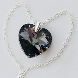 Heart Necklace Pendent 925 Silver Night Sparkly Made With Andreg Crystals