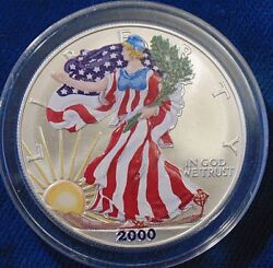 Colorized 2000 Us Walking Liberty 1 One Ounce Fine Silver Coin