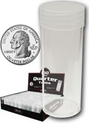 Lot Of 10 Bcw Round Quarter Coin Tubes Clear With Frosted Screw On Lids