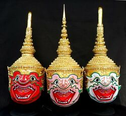 Mask Khon Monkey Thai Handmade Ramayana Home Decor Collectible Exclusive Set 3