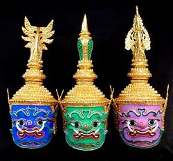 Giant Mask Khon Exclusive Thai Handmade Ramayana Collectible Home Decor Set 3
