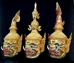 Set 3 Mask Khon Giant King Gold Thai Handmade Exclusive Home Decor Collectible
