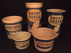 1950/60's Dairy Queen, Un-used Paper Ice Cream Cup And Container Lot 5
