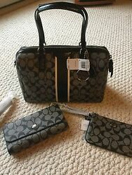 Authentic COACH Nancy Satchel Hand Bag F30662 With Matching Wallet