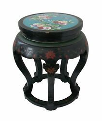 Antique Cloisonné And Lacquer Garden Stool/side Table - China - Early 20th Century