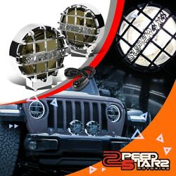 6round Smoked Lens Chrome Cover Bumper Bull Bar Grill Fog Light Lamp+switch 4x4