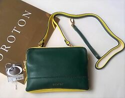 New OROTON Bueno Double Clutch Cross Body Bag Wristlet Leather Green RRP$345