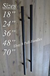 Matte Black Entry Pull Door Handle Stainless Steel Hardware T Bar Long All Sizes