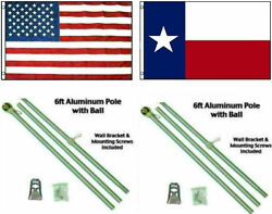3x5 Usa American And State Of Texas Premium Flags Aluminum Pole Kit Ball Top 3and039x5and039