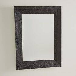 47 Tall Wall Mirror Artisan Hand Carved Solid Textured Wood Matte Black Finish