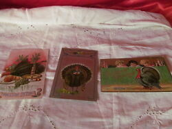 3 Vintage Thanksgiving Day Post Cards 1908