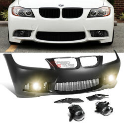For 09-11 Bmw E90 3-series W/o Pdc M3 M-sport Style Front Bumper Cover+fog Light
