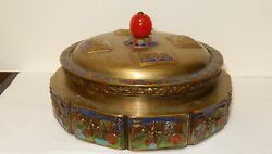 Rare Old Chinese Repousse Enamel Metal With Blue Peking Glass Liner Box