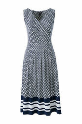 Lands End Womenand039s Fit And Flare Dress Radiant Navy Geo Border New