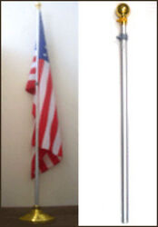 8ft Aluminum Banner Residential Indoor Flag Pole Gold Ball With Base No Flag