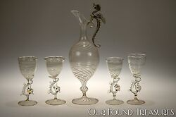 1920s Dragon Handled And Stemmed Bimini Austrian Swirl Glass Decanter And 4 Stems
