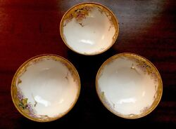 Three Hand Painted Nippon Footed Nut Bowls Salt Cellars Jeweled Beaded Gold Foil