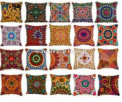 Wholesale Lot Indian Suzani Pillow Covers Vintage Throw Cushion Embroidered Sham