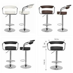 Curved Back Adjustable Swivel Dinning Counter Bar Stools Chrome Chair Set Of 2