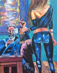 12 Large CIGAR Man Cave Whiskey & Wine Babes Original Paintings Art Dan Byl 4x5'